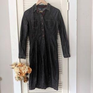 Boden Long Sleeve Black Denim Button Down Dress